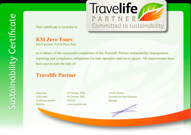 KM Zero Tours company certificate